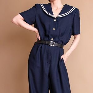 Vintage 90s navy blue nautical sailor pantsuit